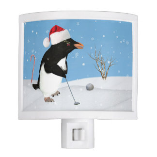 Christmas, Penguin Playing Golf Nite Light