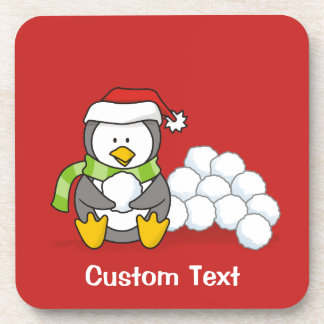 Christmas penguin sitting with snow balls A little Coaster