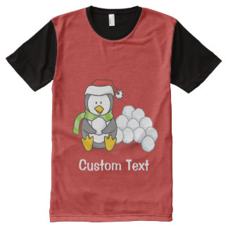 Christmas penguin sitting with snow balls All-Over-Print T-Shirt