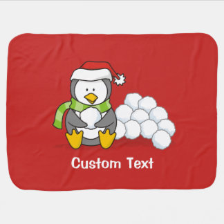 Christmas penguin sitting with snow balls baby blanket