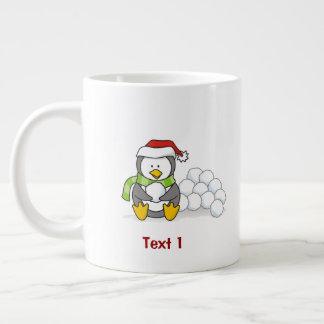 Christmas penguin sitting with snow balls large coffee mug