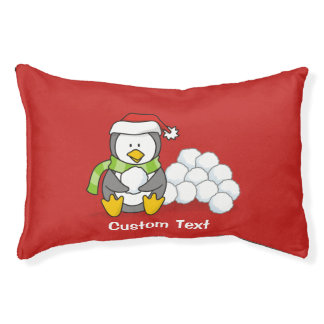 Christmas penguin sitting with snow balls pet bed
