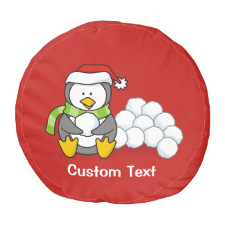Christmas penguin sitting with snow balls pouf