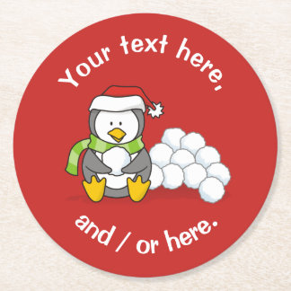 Christmas penguin sitting with snow balls round paper coaster