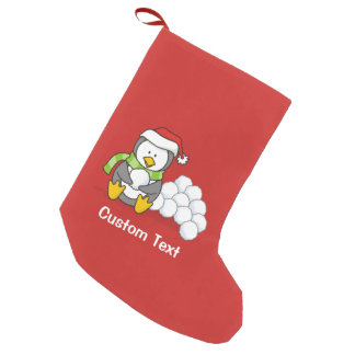 Christmas penguin sitting with snow balls small christmas stocking