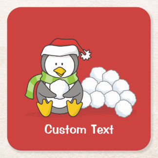 Christmas penguin sitting with snow balls square paper coaster