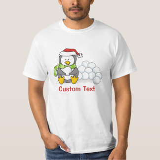 Christmas penguin sitting with snow balls T-Shirt