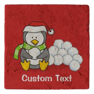 Christmas penguin sitting with snow balls trivet