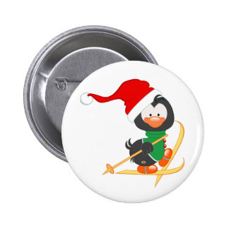 Christmas Penguin Skiing 2 Inch Round Button