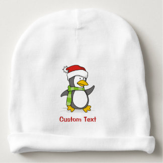 Christmas penguin walking on snow baby beanie