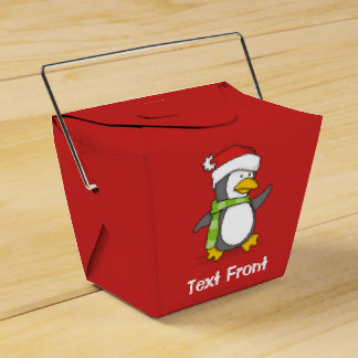 Christmas penguin walking on snow favor box