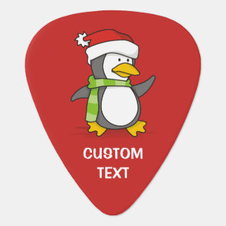 Christmas penguin walking on snow guitar pick