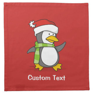Christmas penguin walking on snow napkin