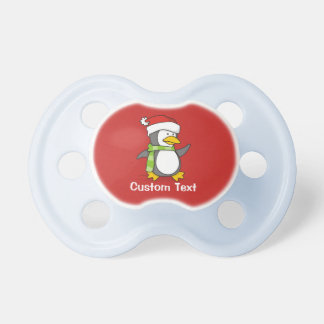 Christmas penguin walking on snow pacifier