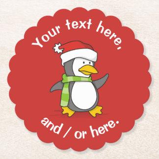 Christmas penguin walking on snow paper coaster