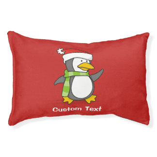 Christmas penguin walking on snow pet bed