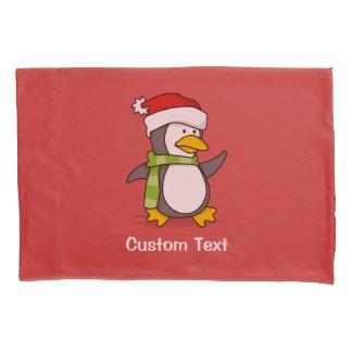 Christmas penguin walking on snow pillowcase