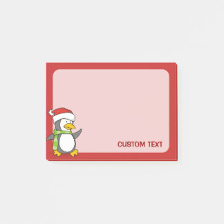 Christmas penguin walking on snow post-it notes