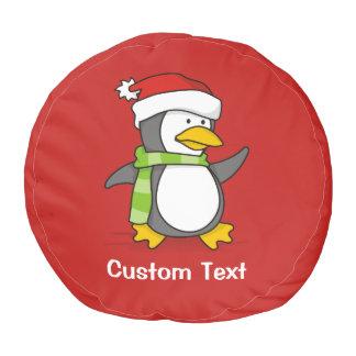 Christmas penguin walking on snow pouf