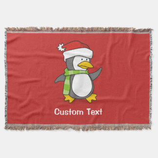 Christmas penguin walking on snow throw blanket