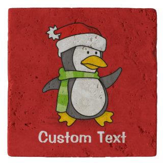 Christmas penguin walking on snow trivet