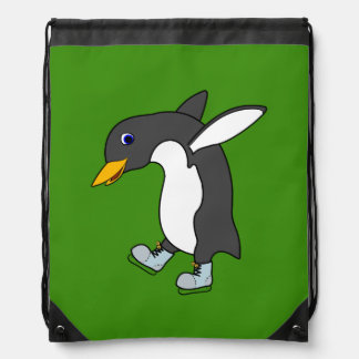 Christmas Penguin with Blue & Silver Ice Skates Backpack