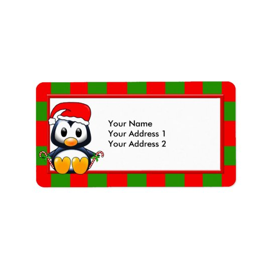 Christmas Penguin with Candy Canes & Santa Hat