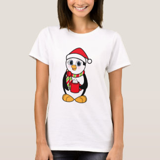 Christmas Penguin with Cup of Cocoa T-Shirt