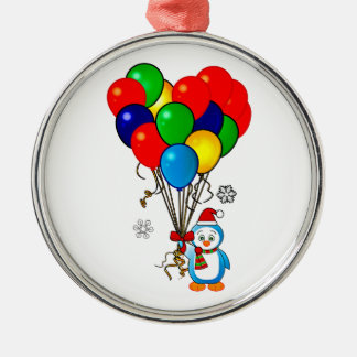 Christmas Penguin with Heart Balloons Metal Ornament