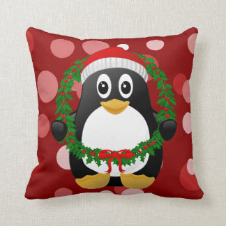 Christmas Penguin with Holly Wreath Custom Pillow