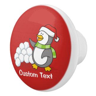 Christmas penguin with snow balls waving ceramic knob