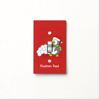 Christmas penguin with snow balls waving light switch cover