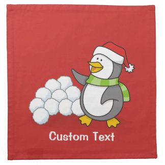 Christmas penguin with snow balls waving napkin
