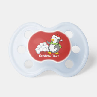 Christmas penguin with snow balls waving pacifier