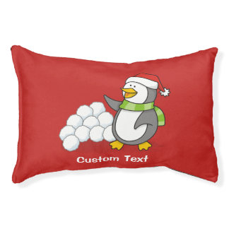 Christmas penguin with snow balls waving pet bed
