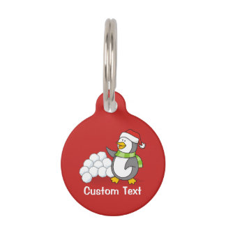 Christmas penguin with snow balls waving pet ID tag