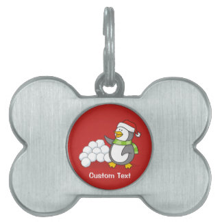 Christmas penguin with snow balls waving pet tag