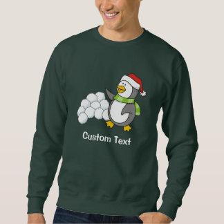 Christmas penguin with snow balls waving sweatshirt