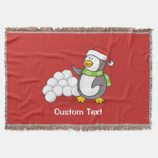 Christmas penguin with snow balls waving throw blanket