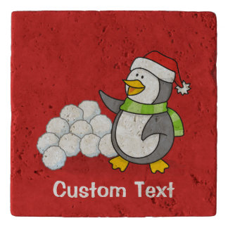 Christmas penguin with snow balls waving trivet