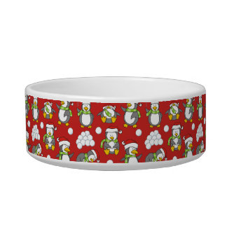 Christmas penguins background bowl