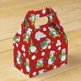 Christmas penguins background favor box