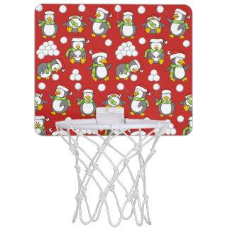 Christmas penguins background mini basketball hoop