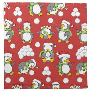 Christmas penguins background napkin