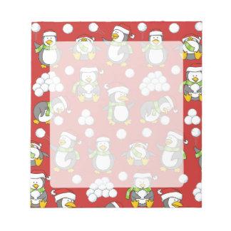 Christmas penguins background notepad