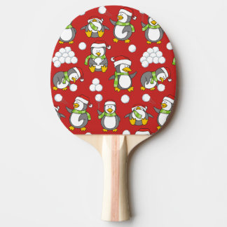 Christmas penguins background ping pong paddle