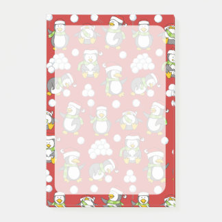 Christmas penguins background post-it notes