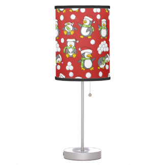 Christmas penguins background table lamp