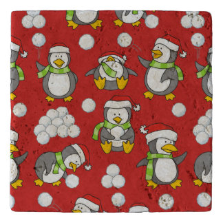 Christmas penguins background trivet
