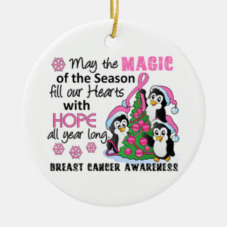Christmas Penguins Breast Cancer Round Ceramic Ornament